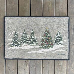 LL Bean Christmas Tree Evergreens and Mountains Door Mat Floor Mat